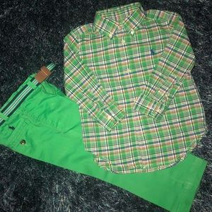 Polo shirt size 2t and green pants w/ belt size 3t